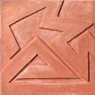 handmade terra cotta ceramic tile with a graphic design and a clear matte or gloss glaze