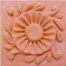 handmade terra cotta cearmic tile with a high relief design><br> <b><font size=