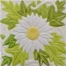 handmade ceramic tile with a high relief flower design and a multi-colored glaze