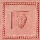 handmade terra cotta ceramic tile with a high relief shell design and a clear gloss or matte glaze
