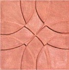 handmade terra cotta ceramic tile with a graphic design and a matte or gloss glaze
